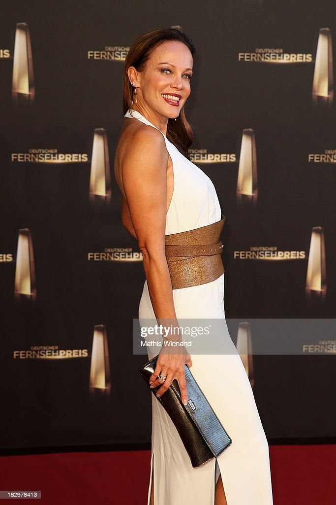 Sonja Kirchberger arrives at the red carpet of the 'Deutscher Fernsehpreis 2013' at Coloneum on October 2, 2013 in Cologne, Germany.