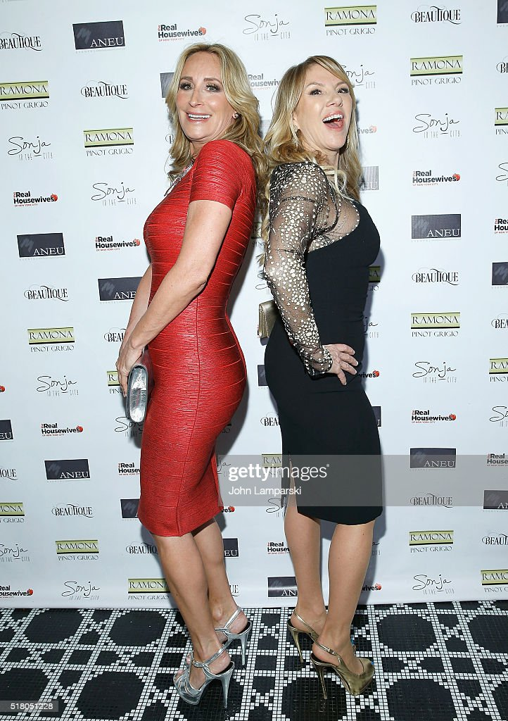 Sonja Morgan and Ramona Singer attend 'The Real Housewives of New York City' season 8 premiere party at Beautique on March 29 2016 in New York City