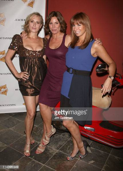 Sonja Morgan Countess Luann de Lesseps and Jill Zarin attend the Mobile Spray Tan Unit launch at Beach Bum Tanning Salon on May 18 2011 in New York...