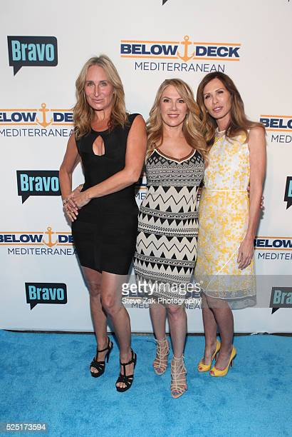 Sonja Morgan Ramona Singer and Carole Radziwill attend Bravo's 'Below Deck' Premiere at The IAC Builidng on April 27 2016 in New York New York