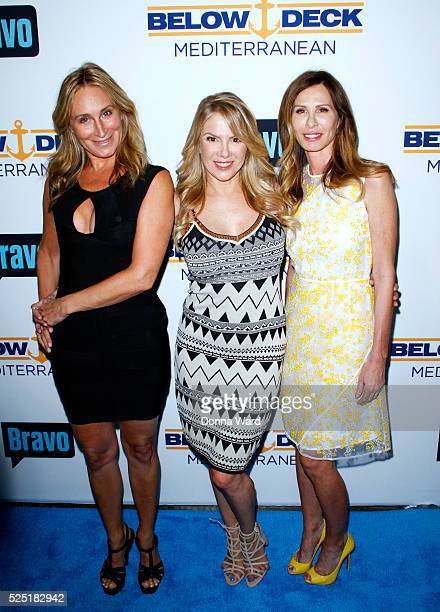 Sonja Morgan Ramona Singer and Carole Radziwill attend Bravo's 'Below Deck' Premiere at The IAC Building on April 27 2016 in New York City