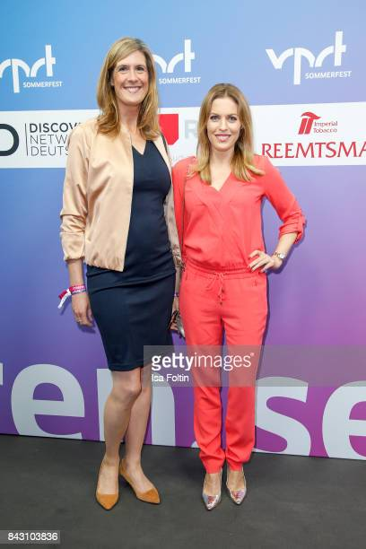 Sonja Schwetje chief editor ntv and German presenter Jule Goelsdorf attend the Summer Reception Of VPRT Organization at LV Niedersachsen on September...