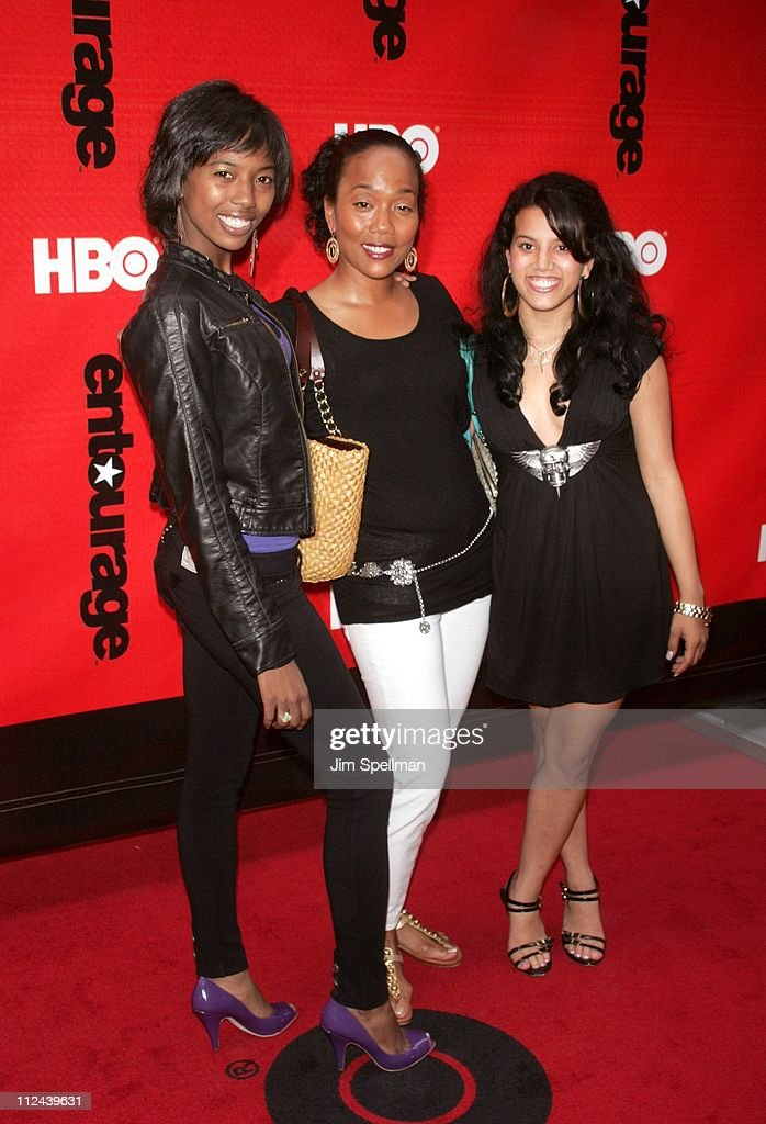 Sonja Sohn and daughters during 'Entourage' Season 4 Premiere Arrivals at Zeigfeld Theatre in New York City New York United States