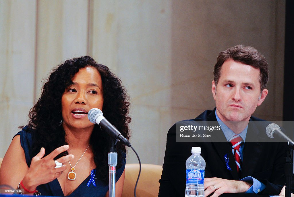 Sonja Sohn and Jim TrueFrost attend the Federal Interagency Drug Endangered Children Task Force Public Awareness Campaign announcement at the US...