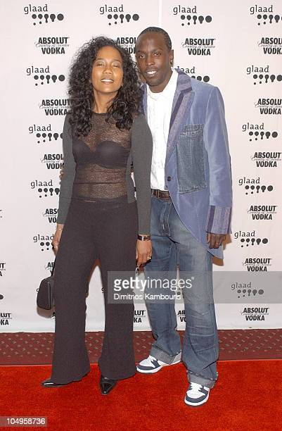 Sonja Sohn and Michael K Williams during The 14th Annual GLAAD Media Awards New York Arrivals at Marriott Marquis in New York City New York United...