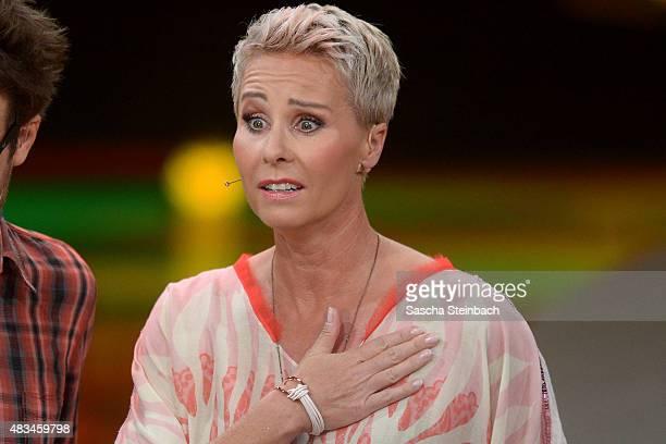 Sonja Zietlow looks on during the final of the television show 'Ich bin ein Star lasst mich wieder rein' on August 8 2015 in Huerth Germany