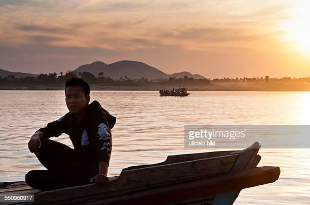 Sonnenuntergang am Chindwin Fluss