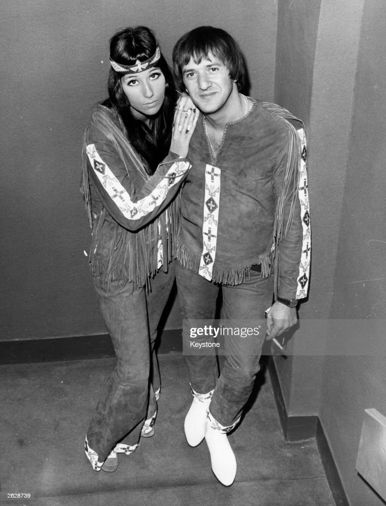 Sonny and Cher American husband and wife popsinging duo in London wearing native American dress Original Publication People Disc HL0283