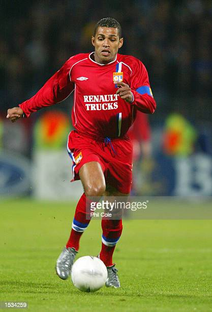 Sonny Anderson of Lyon on the ball during the UEFA Champions League First Phase Group D match between Lyon and Inter Milan at the Stade de Gerland in...