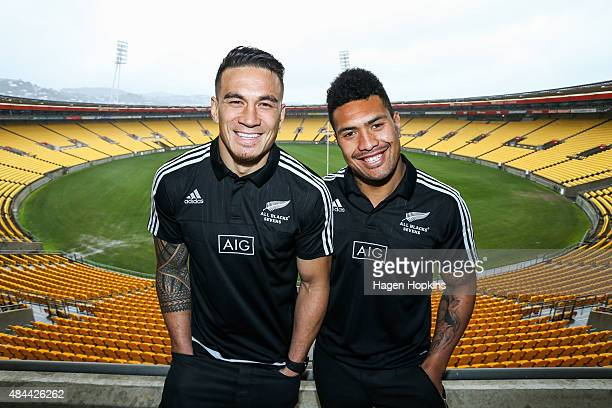 Sonny Bill Williams and Ardie Savea pose during the All Blacks Sevens 2015/16 squad announcement at Westpac Stadium on August 19 2015 in Wellington...