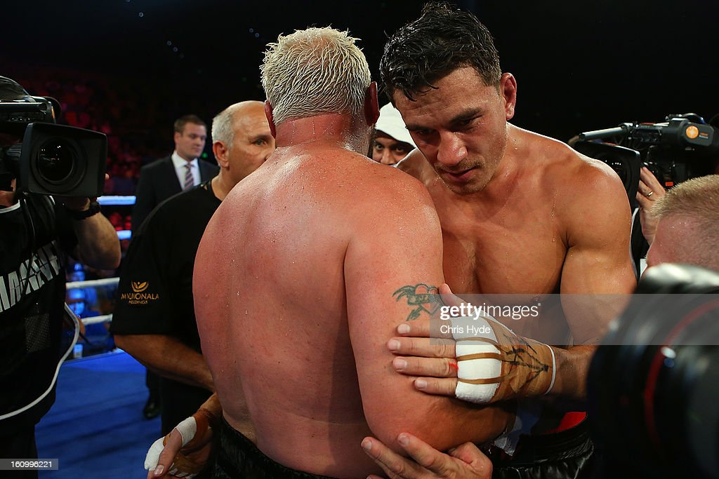 <a gi-track='captionPersonalityLinkClicked' href=/galleries/search?phrase=Sonny+Bill+Williams&family=editorial&specificpeople=204424 ng-click='$event.stopPropagation()'>Sonny Bill Williams</a> and Fancois Botha hug at the end of the fight. Sonny Bll Williams won their heavyweight bout at the Brisbane Entertainment Centre on February 8, 2013 in Brisbane, Australia.