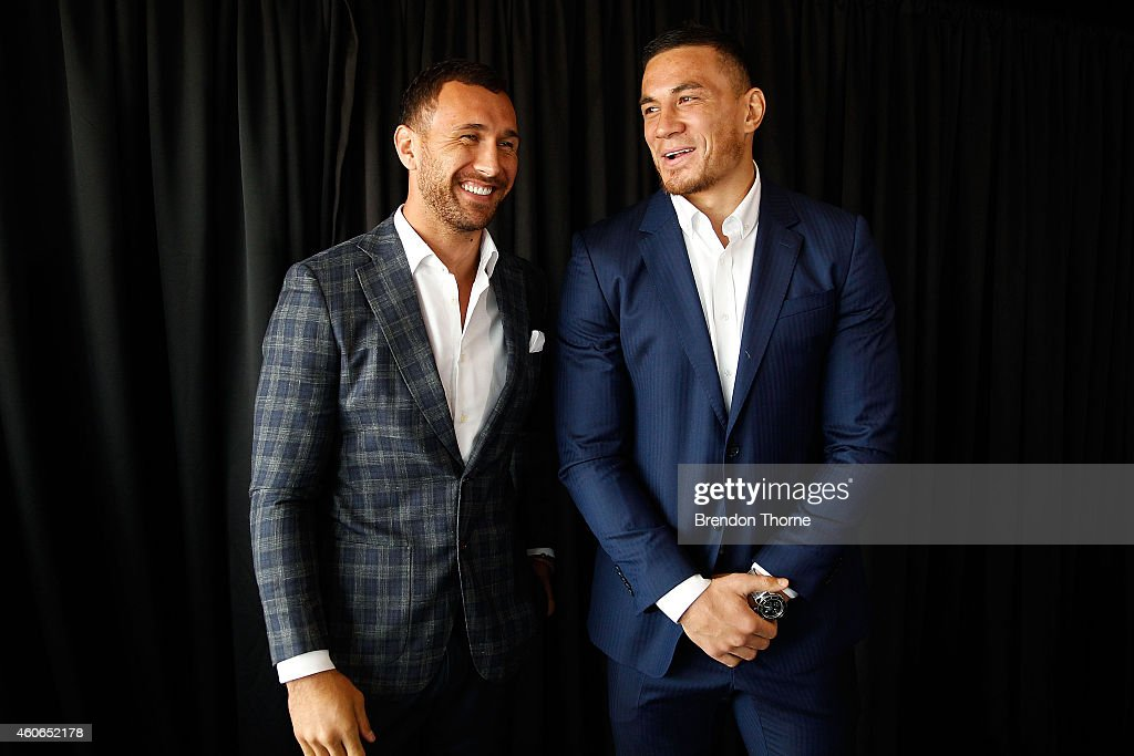 <a gi-track='captionPersonalityLinkClicked' href=/galleries/search?phrase=Sonny+Bill+Williams&family=editorial&specificpeople=204424 ng-click='$event.stopPropagation()'>Sonny Bill Williams</a> and <a gi-track='captionPersonalityLinkClicked' href=/galleries/search?phrase=Quade+Cooper&family=editorial&specificpeople=4176008 ng-click='$event.stopPropagation()'>Quade Cooper</a> share a joke following a press conference at Allphones Arena on December 19, 2014 in Sydney, Australia.