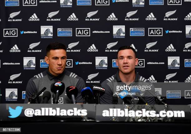Sonny Bill Williams and Ryan Crotty during the New Zealand national rugby team squad announcement at The Vineyard Hotel on October 05 2017 in Cape...