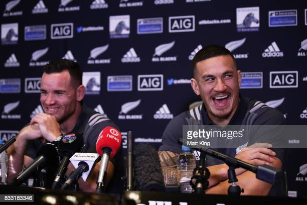 Sonny Bill Williams and Ryan Crotty speak to the media during a New Zealand All Blacks press conference at The Intercontinental on August 17 2017 in...