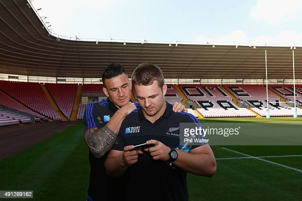 Sonny Bill Williams and Sam Cane of the All Blacks watch replays of the NRL Grand Final before a New Zealand All Blacks media session at Mowden Park...