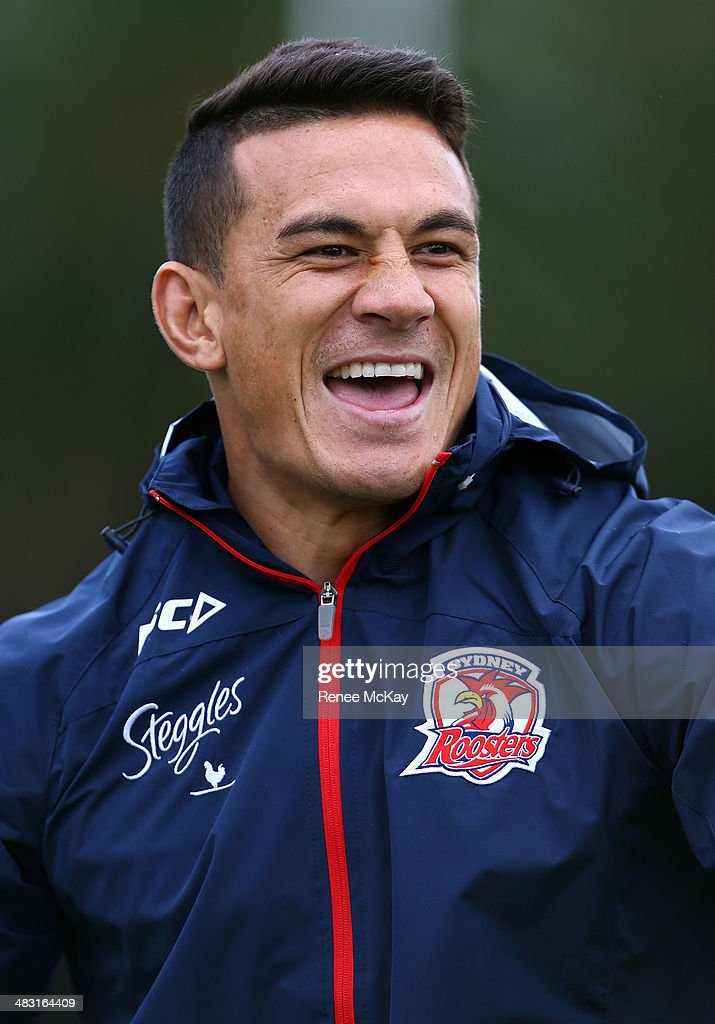 <a gi-track='captionPersonalityLinkClicked' href=/galleries/search?phrase=Sonny+Bill+Williams&family=editorial&specificpeople=204424 ng-click='$event.stopPropagation()'>Sonny Bill Williams</a> arrives at a Sydney Roosters NRL training session at Kippax Lake on April 7, 2014 in Sydney, Australia.