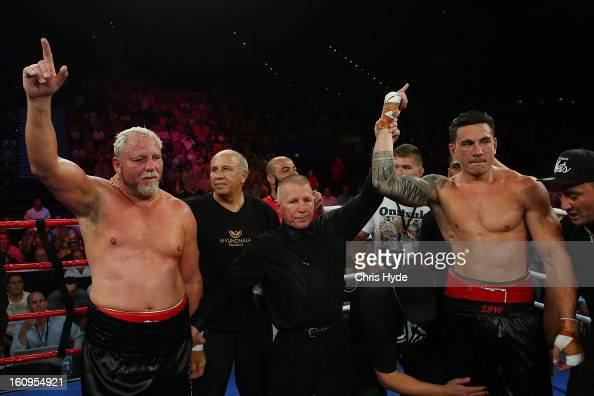 Sonny Bill Williams celebrates winning his fight against Francois Botha in their heavyweight bout at the Brisbane Entertainment Centre on February 8...