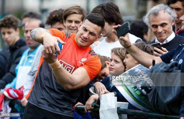 Sonny Bill Williams of All Blacks poses for pictures with fans during the New Zealand Rugby Championship Captain's Run ahead of the match against...
