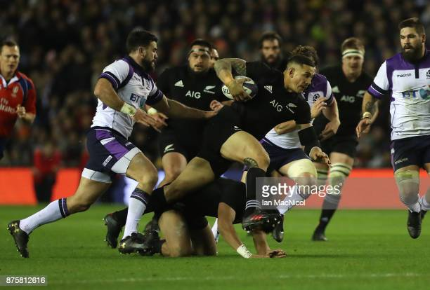 Sonny Bill Williams of New Zealand drives forward with the ball during the International test match between Scotland and New Zealand at Murrayfield...