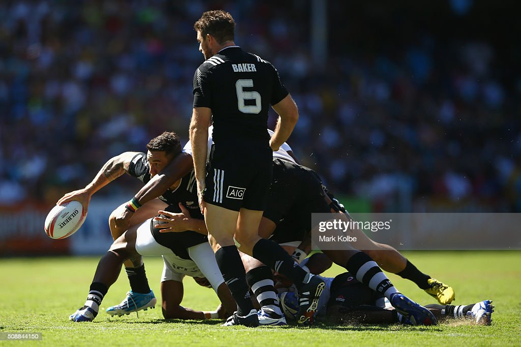 Sonny Bill Williams of New Zealand holds the ball as he picks it up from the back of a ruck during the 2016 Sydney Sevens cup semi final match between New Zealand and Fiji at Allianz Stadium on February 7, 2016 in Sydney, Australia.