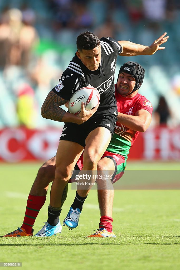 <a gi-track='captionPersonalityLinkClicked' href=/galleries/search?phrase=Sonny+Bill+Williams&family=editorial&specificpeople=204424 ng-click='$event.stopPropagation()'>Sonny Bill Williams</a> of New Zealand is tackled by Miguel Lucas of Portugal during the 2016 Sydney Sevens match between New Zealand and Portugal at Allianz Stadium on February 6, 2016 in Sydney, Australia.