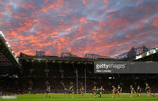 Sonny Bill Williams of New Zealand runs with the ball during the Rugby League World Cup Final between New Zealand and Australia at Old Trafford on...