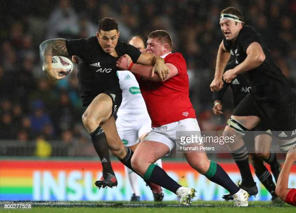 Sonny Bill Williams of the All Blacks hands off Tadhg Furlong of the Lions during the first test match between the New Zealand All Blacks and the...