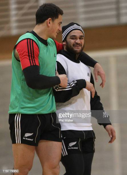 Sonny Bill Williams of the All Blacks has his arm around Piri Weepu during a New Zealand All Blacks training session at the Te Rauparaha Arena on...