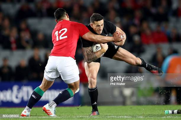 Sonny Bill Williams of the All Blacks is tackled during the Test match between the New Zealand All Blacks and the British Irish Lions at Eden Park on...