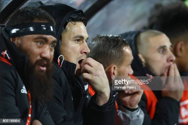 Sonny Bill Williams of the All Blacks looks on from the bench after being shown the red card by Referee Jerome Garces of France during the second...