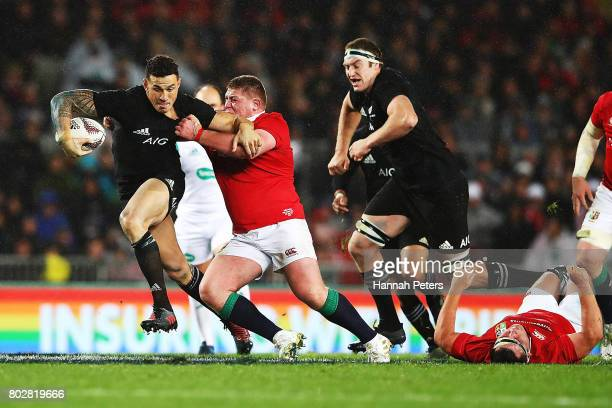 Sonny Bill Williams of the All Blacks makes a break during the Test match between the New Zealand All Blacks and the British Irish Lions at Eden Park...