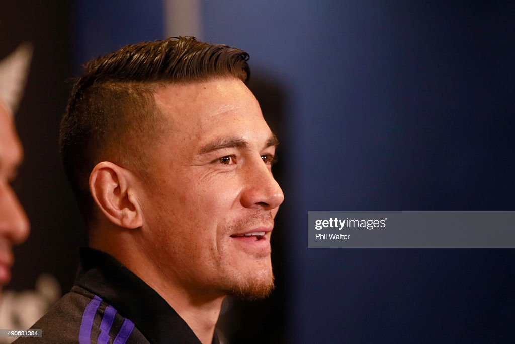 Sonny Bill Williams of the All Blacks speaks during a New Zealand All Blacks media session at the Hilton Hotel on September 30, 2015 in Cardiff, United Kingdom.