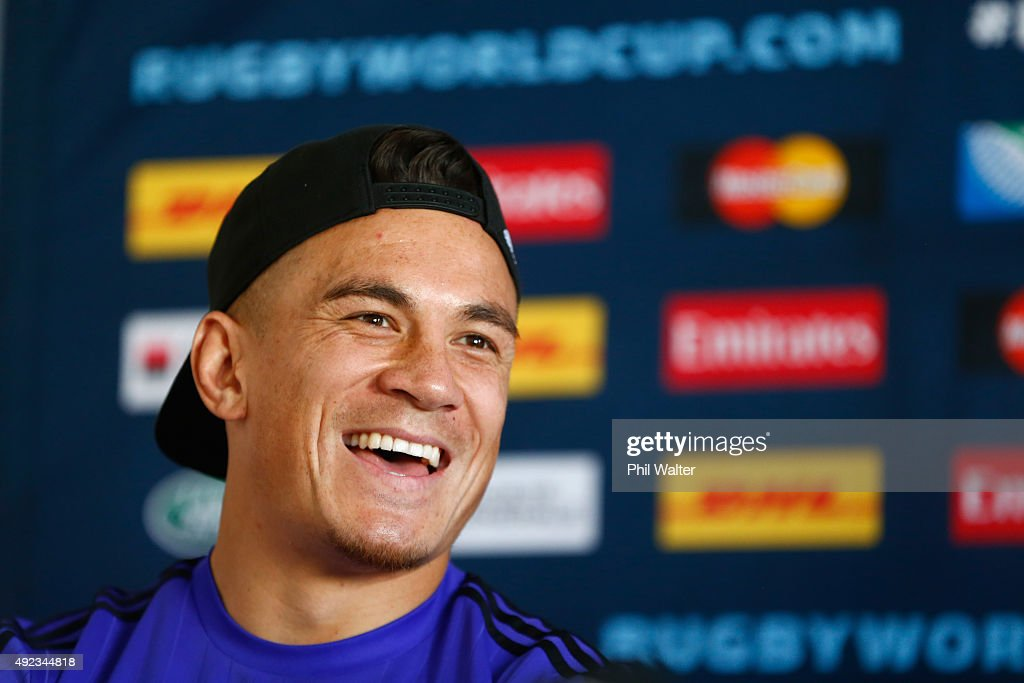 Sonny Bill Williams of the All Blacks speaks during a New Zealand All Blacks media session on October 12, 2015 in Swansea, United Kingdom.