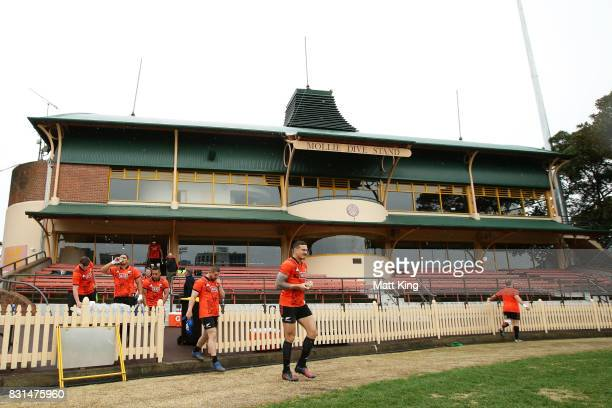 Sonny Bill Williams of the All Blacks takes the field during a New Zealand All Blacks training session at North Sydney Oval on August 15 2017 in...