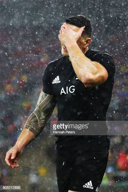 Sonny Bill Williams of the All Blacks walks off after receiving a red card during the International Test match between the New Zealand All Blacks and...