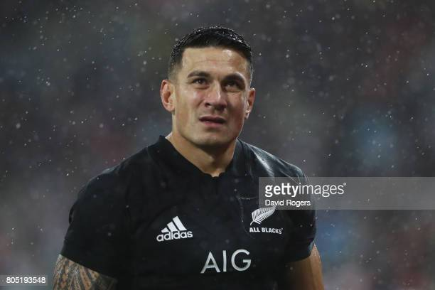 Sonny Bill Williams of the All Blacks walks off the pitch after being shown the red card by Referee Jerome Garces of France during the second test...