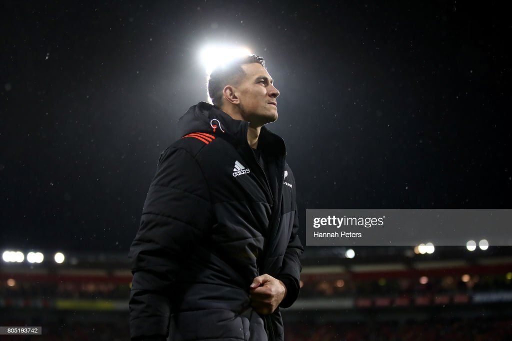 Sonny Bill Williams of the All Blacks walks off the pitch after being shown the red card by Referee Jerome Garces of France during the second test match between the New Zealand All Blacks and the British & Irish Lions at the Westpac Stadium on July 1, 2017 in Wellington, New Zealand.