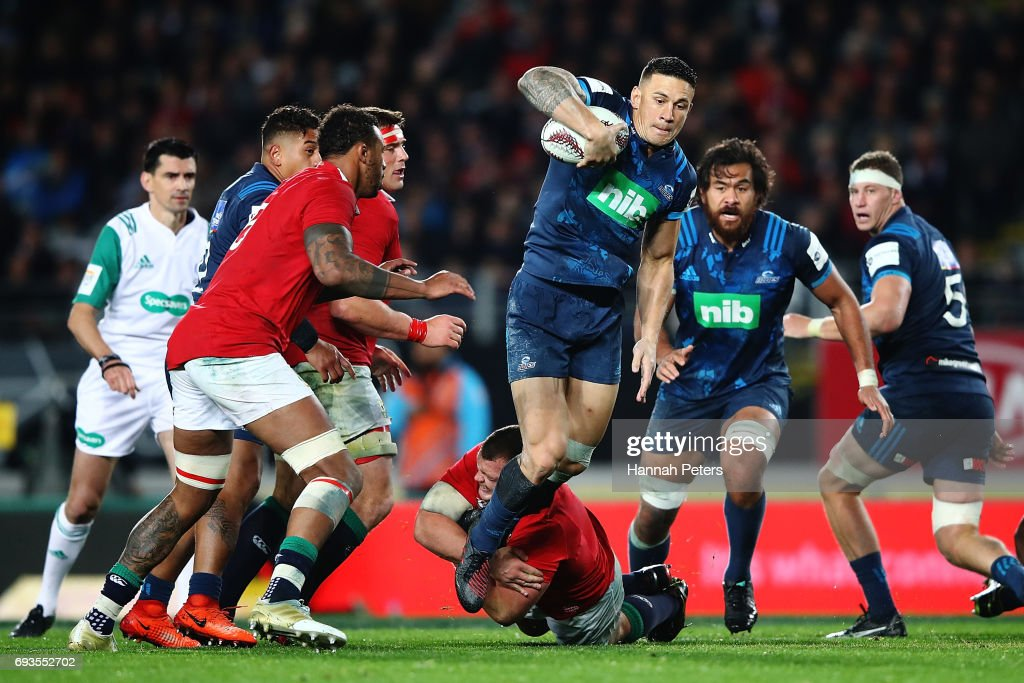Sonny Bill Williams of the Blues charges forward during the match between the Auckland Blues and the British & Irish Lions at Eden Park on June 7, 2017 in Auckland, New Zealand.