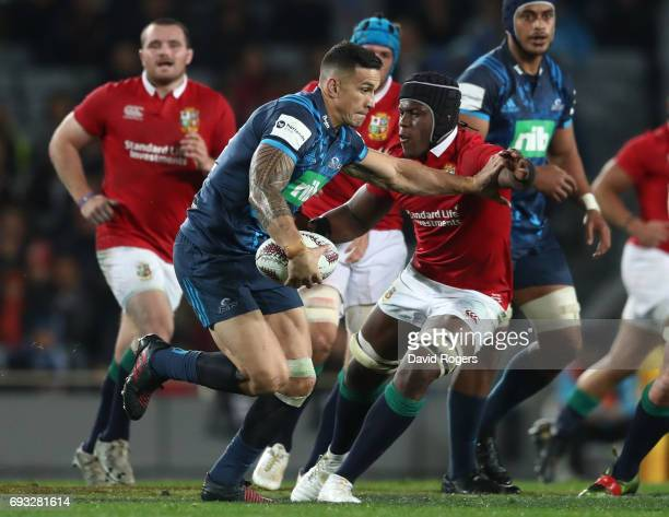 Sonny Bill Williams of the Blues is tackled by Maro Itoje of the British Irish Lions during the 2017 British Irish Lions tour match between the Blues...