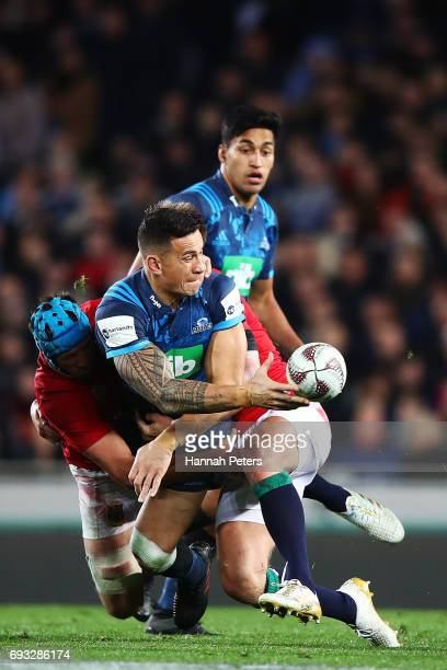 Sonny Bill Williams of the Blues looks to offload the ball during the match between the Auckland Blues and the British Irish Lions at Eden Park on...