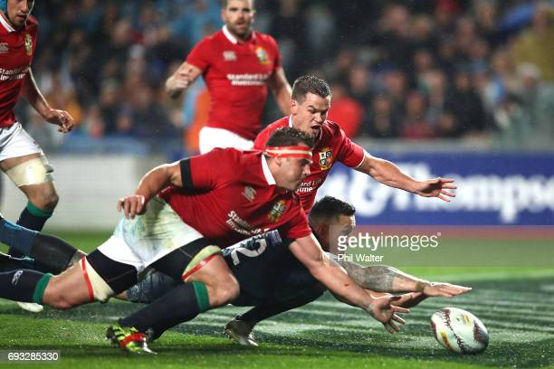 Sonny Bill Williams of the Blues scores a try during the match between the Auckland Blues and the British Irish Lions at Eden Park on June 7 2017 in...