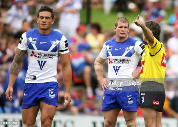 Sonny Bill Williams of the Bulldogs leaves the field after being sent off by referee Tony Archer for a high shot on Andrew Johns of the Knights...