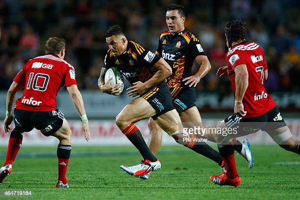 Sonny Bill Williams of the Chiefs breaks away during the round three Super Rugby match between the Chiefs and the Crusaders at Waikato Stadium on...