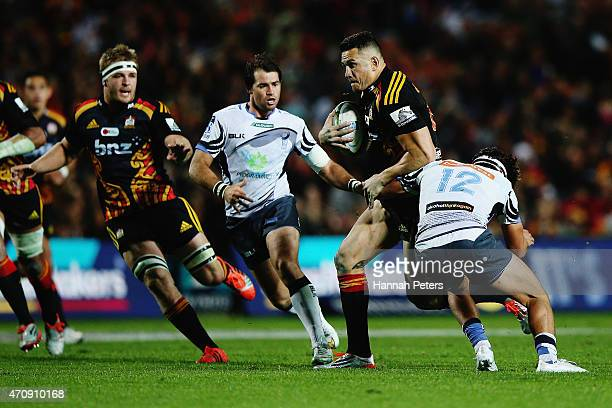 Sonny Bill Williams of the Chiefs charges forward during the round 11 Super Rugby match between the Chiefs and the Force at Waikato Stadium on April...