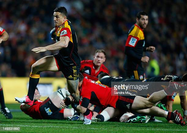 Sonny Bill Williams of the Chiefs in action during the Super Rugby Semi Final match between the Chiefs and Crusaders at Waikato Stadium on July 27...