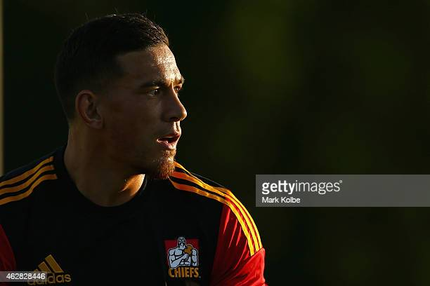Sonny Bill Williams of the Chiefs watches on as he warms up before the Super Rugby trial match between the Waratahs and Chiefs at Campbelltown Sports...