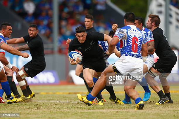 Sonny Bill Williams of the New Zealand All Blacks attacks during the International Test match between Samoa and the New Zealand All Blacks at Apia...