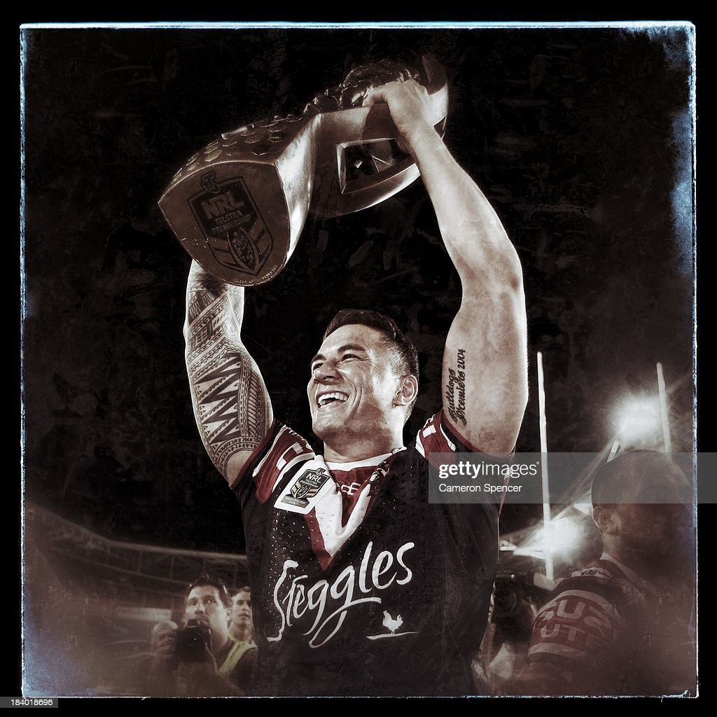<a gi-track='captionPersonalityLinkClicked' href=/galleries/search?phrase=Sonny+Bill+Williams&family=editorial&specificpeople=204424 ng-click='$event.stopPropagation()'>Sonny Bill Williams</a> of the Roosters celebrates after winning the 2013 NRL Grand Final match between the Sydney Roosters and the Manly Warringah Sea Eagles at ANZ Stadium on October 6, 2013 in Sydney, Australia.