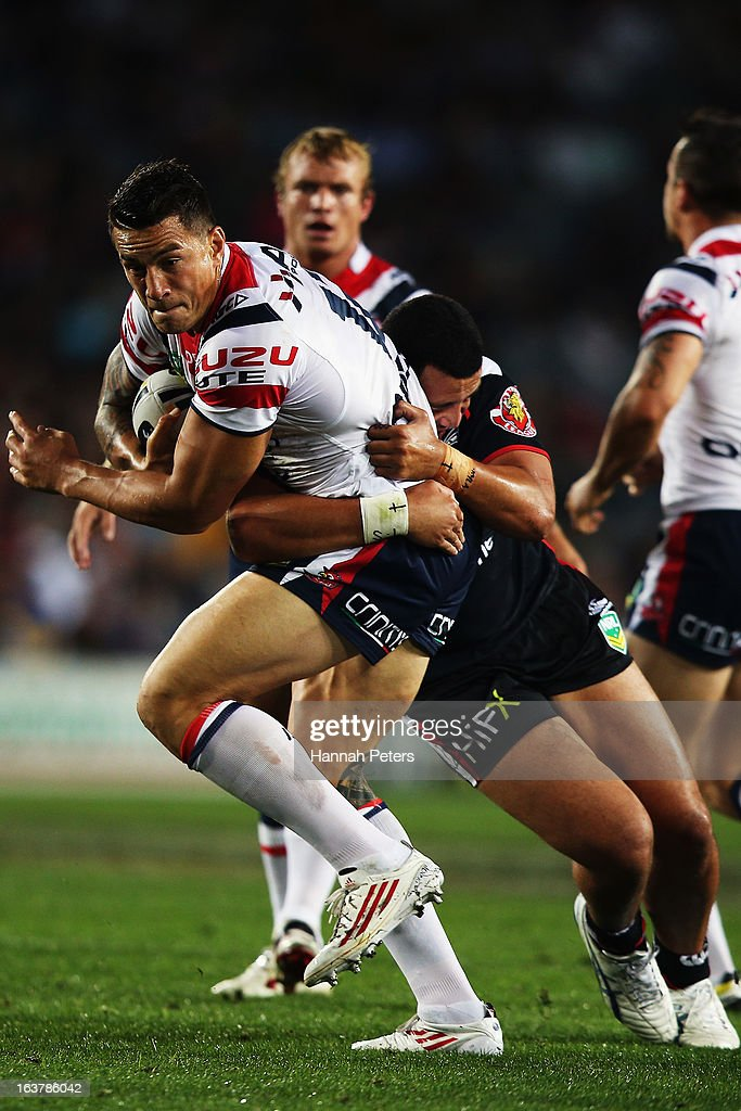 <a gi-track='captionPersonalityLinkClicked' href=/galleries/search?phrase=Sonny+Bill+Williams&family=editorial&specificpeople=204424 ng-click='$event.stopPropagation()'>Sonny Bill Williams</a> of the Roosters charges forward during the round two NRL match between the New Zealand Warriors and the Sydney Roosters at Eden Park on March 16, 2013 in Auckland, New Zealand.