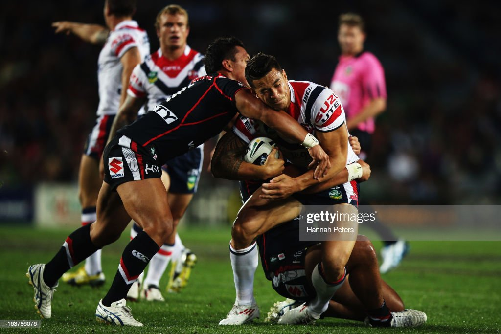 Sonny Bill Williams of the Roosters charges forward during the round two NRL match between the New Zealand Warriors and the Sydney Roosters at Eden Park on March 16, 2013 in Auckland, New Zealand.